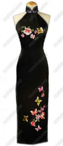 Romantic Die Lian Hua Embroidered Silk Cheongsam