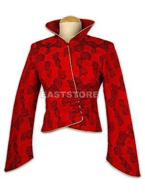 Red Rose Short Style Brocade Jacket