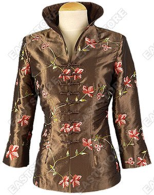 Seductive Floral Embroidered Thai Silk Blouse