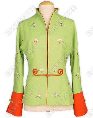 Small Flower Embroidered One Button Jacket