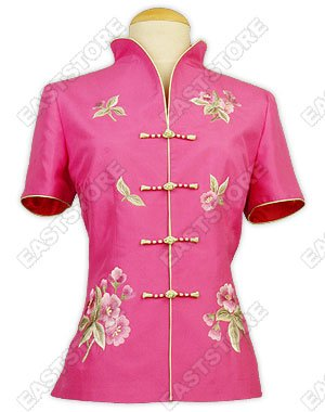 Flower Embroidery Thai Silk Blouse