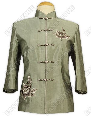 Peony Embroidered Thai Silk Blouse