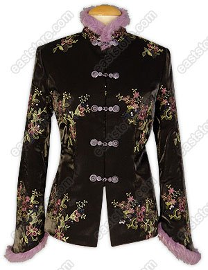 Warm Floral Embroidered Silk Jakcet(Quilted)