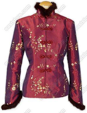 Floral Embroidered Fur-Trimmed Jacket(Quilted)