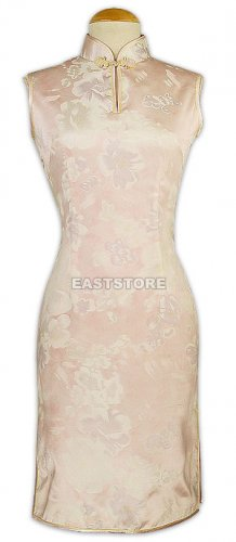 Pink Floral Patten Pure Silk Qipao(Knee-Length Style)