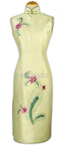 Silk Phenix Flower Embroidered Knee-Length Qipao