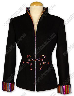 Unique One-Button Closure Silk Velvet Jacket