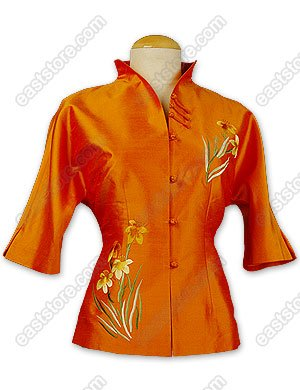 Chic Orchid Embroidered Thai Silk Blouse