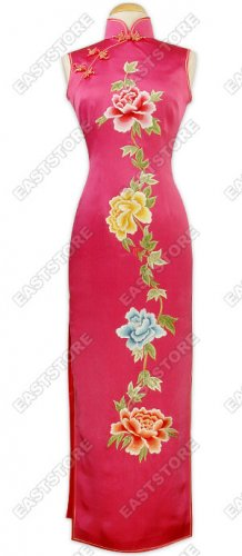 Colorful Embroidered Peony Dress