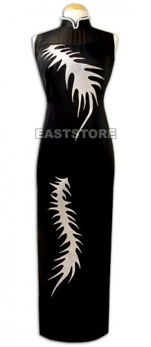 Noble Phoenix Feather Embroidery Silk Dress