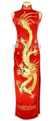 A-one Gold Embroidery Dragon Silk Cheongsam