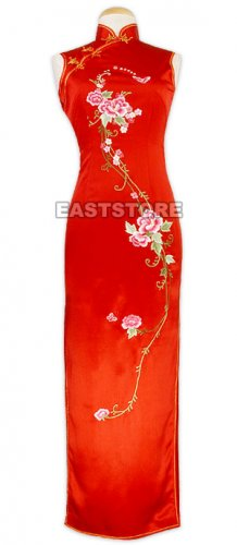 Impassioned Embrace Floral Embroidery Silk Dress