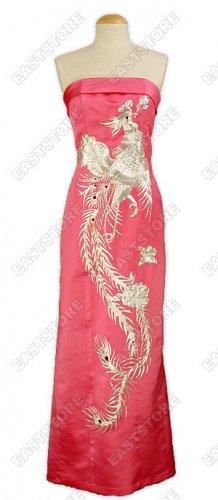 A-one Silver Phoenix Embroidered Silk Cheongsam