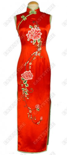 Elegant Mu Dan Embroidery Silk Cheongsam