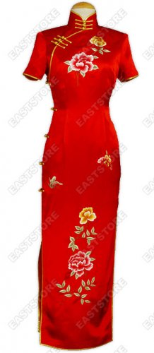Traditional Die Wu Embroidered Silk Cheongsam