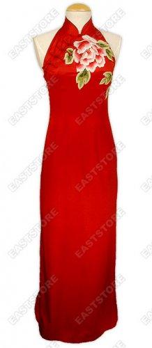 Splendid Peony Embroidered Silk Dress