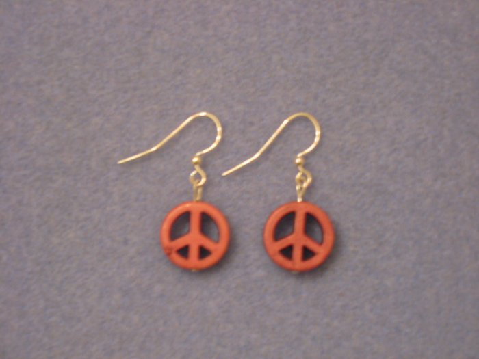 Peace Sign Earrings- Pink/Orange