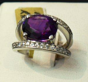 3ct Amethyst and diamond ring