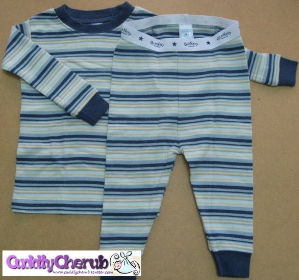 Old Navy Baby Pajamas, Smart Blue Stripes, 6-12months