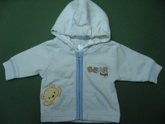 CHILD OF MINE Blue Long Sleeve Jacket with Hood, Cute �Bear Hugs� NWOT