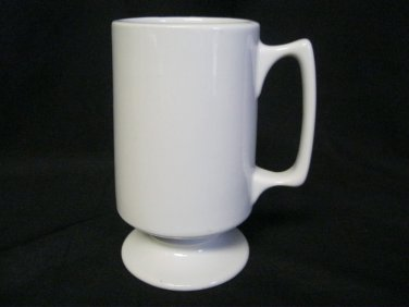 Hall Pottery Vintage Pedestal Cup Tall White Tea Coffee