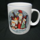 Cup Mug Christmas Signed Elaine Thompson Holiday Coffee Tea