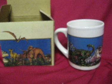 Vintage Cup Mug Dinosaur  AMK Souvenirs Dinamation 1990 New