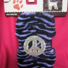 Dog Sweater New  XXS New Purple Zebra Fleece Material Peace sign