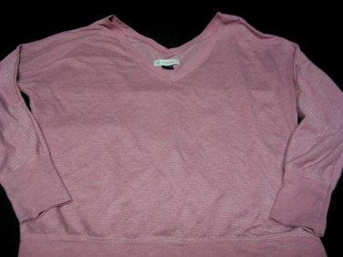 Top Shirt American Eagle Sz m V neck Pink Silver Glittery Stripes
