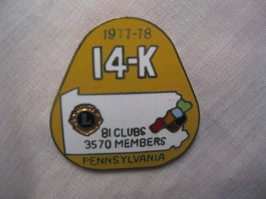 Lions Club Pin 1977-1978 Pennsylvania PA 14-K Back Marked R. L. Steward