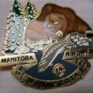 Lions Club Pin Bear Catching Fish Minnesota 1980 Manitoba Wontario  Vintage Rare