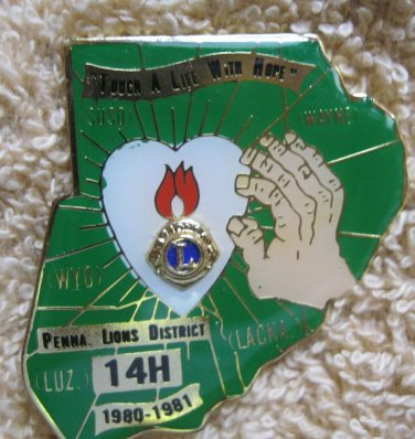 """Lions Club Pin Lion  """"Touch a Life With Hope"""" Penna. District 14H 1980-1981"""