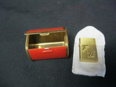 "Vintage Wee Wellington Lighter & Match Holder Never  Fired 1 1/2"" Initials F.H."