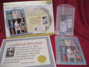 PRINCESS DIANA STAMPS 9 LIMITED ed DIANA + SPECIAL MOTHER TERESA CERTIFICATE AUT