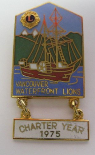 Lions Club Pin Vintage Rare Vancouver Waterfront Charter Year 1975 Boat Water