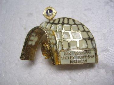 Lions Club Pin Rare Vintage Igloo Dan Jacobsen Shelby Twp. Michigan