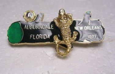 Lions Club Pin Rare Alligator Auburndale Florida 1977 New Orleans