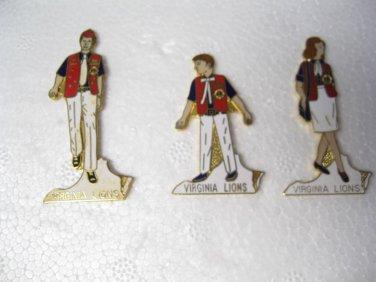 Lions Club Pin Pins set 3 Virginia Man Women Child Members Lions  Vests Family