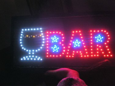 "Light up Bar Sign with a Blinking Glass 19 x 9 1/2"" Plastic hanging Electric"