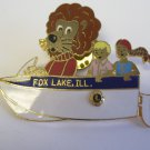 Lions Club Pin  Fox Lake Illinois boat Vintage Rare