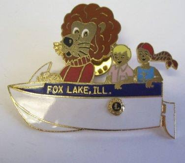Lions Club Pin  Fox Lake Illinois boat Vintage Rare