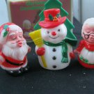 CHRISTMAS SALT PEPPER NAPKIN SET MR. MRS CLAUS KISSING & FROSTY TOO W BOX