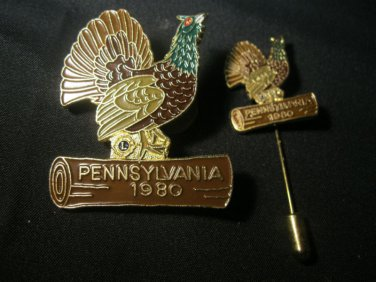LIONS CLUB PIN & Stick PIN  PENNSYLVANIA 1980 Chicken