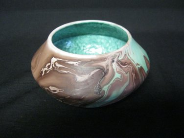 Art Pottery Bowl Dish Color Swirls Indian Store Kansas Brown Green