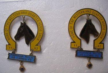 Lions Club Pins Horse Shoe 1977 1978 Western Quarter Horse Show Armada Michigan