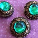Vintage Green Glass & Copper Design Button set