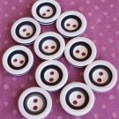 10 White & black Inset Vintage Buttons
