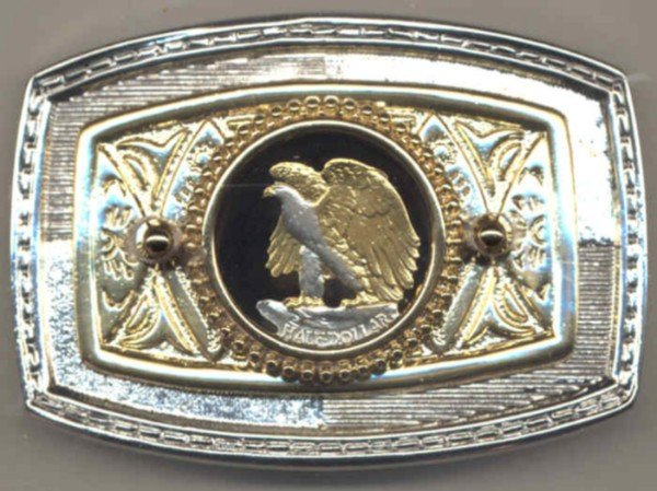 Statue of Liberty Cut Coin Belt Buckle Eagle
