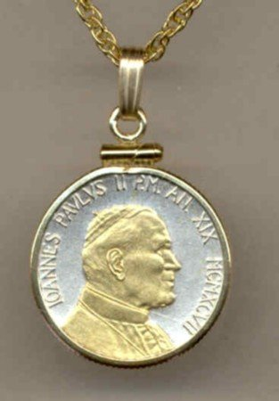Pope John Paul II Coin Necklace