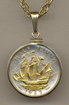 Sailing Ship Coin Necklace Pendant